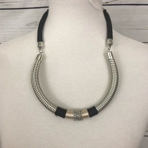 Statement Necklace Mixed Media Black and Silver